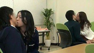 Horny Japanese whore Yuna Shiina, Hitomi Honjou in Exotic Secretary, Group Sex JAV clip