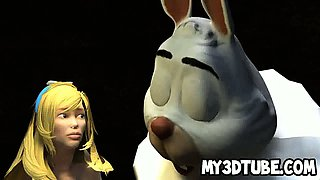 3D cartoon Alice in Wonderland gets licked and fucked