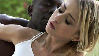 Skinny white girl enjoys outdoor session with her black boyfriend