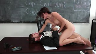 The teacher's pet is fully engaged in a steaming fuck session