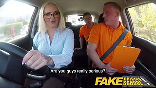 Fake Driving School Muscular hunk finger blasts blonde to squirting orgasms