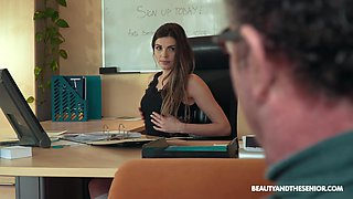 Adorable young associate Sarah Smith gives a blowjob and gets laid in the office