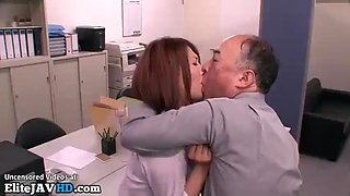Japanese old boss wants to fuck personal secretary