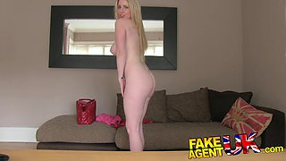 FakeAgentUK: Blonde Scottish beauty with bouncy breasts pleasures agent