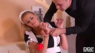 Horny man is fucking, Afina Kisser, his smoking hot maid, while his wife is at work