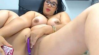 Chubby cutie big tits has orgasm rubbing clit and bush