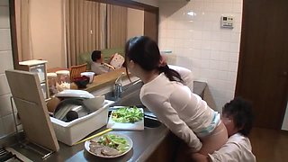 Japanese Housewife Fuck In The Kitchen While Her Husband Is Eating