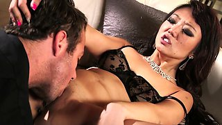 Guy allowed to lick and fuck his boss small tits asian wife