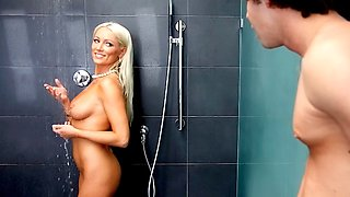 Hot Milf Diana Doll gives soapy handjob