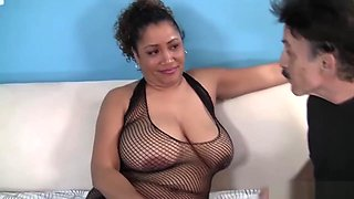 Fat Ebony Mistress Fucks Skinny Old Man