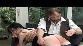 Girl with beautiful ass OTK spanking