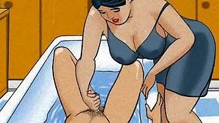 Wife  making a handjob in the bath cartoon