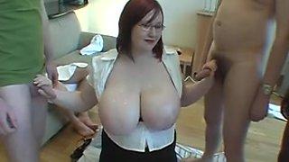 Chunky large breasted Scottish readhead jizzed on